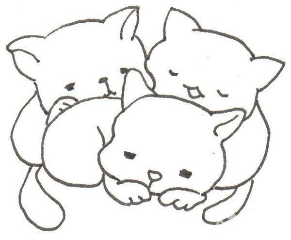 卡通画:树洞里的猫咪的绘画步骤_儿童画教程_学画画