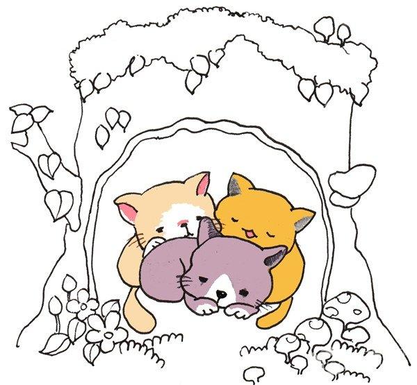 学画画 儿童画教程 卡通画 > 卡通画:树洞里的猫咪的绘画步骤(3)