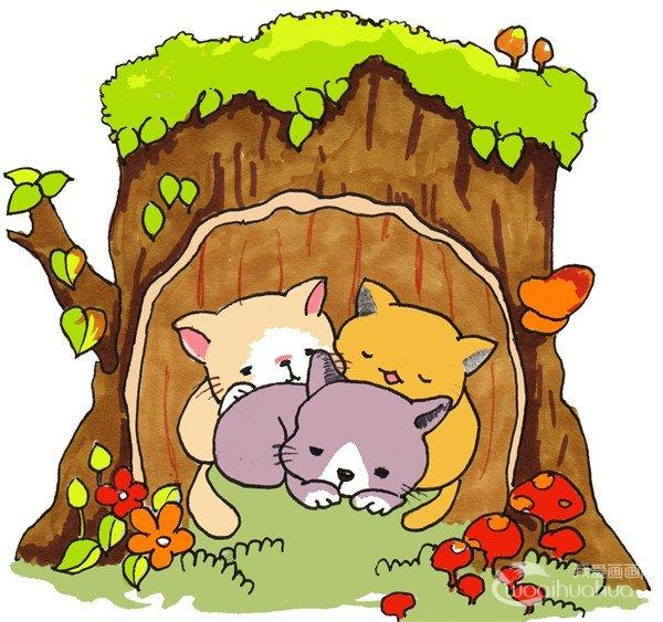 卡通画:树洞里的猫咪的绘画步骤(3)_儿童画教程_学_我