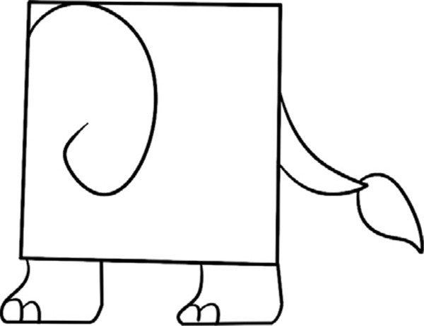 趣味简笔画 长鼻子的小象绘画步骤 3