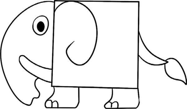 趣味简笔画 长鼻子的小象绘画步骤 4
