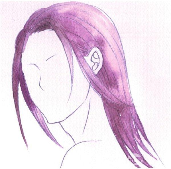 水彩男性的长发 长发使人物看起来显得更柔和一些,注意画出头发颜色
