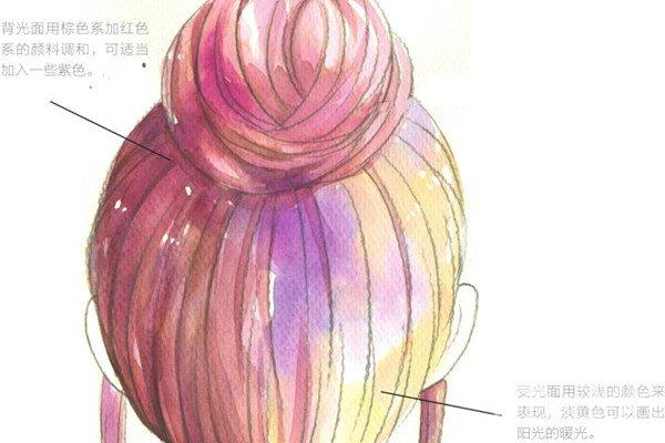 水彩:盘发的绘画流程