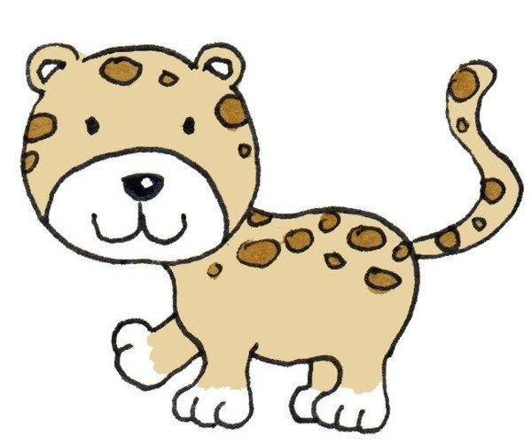 ⑤上色,完成。  卡通画豹子的绘画步骤五 中国豹最早从渐新世中期即已出现,这表明这种动物至少已生存过50万年了。此豹也被广泛称为金钱豹。