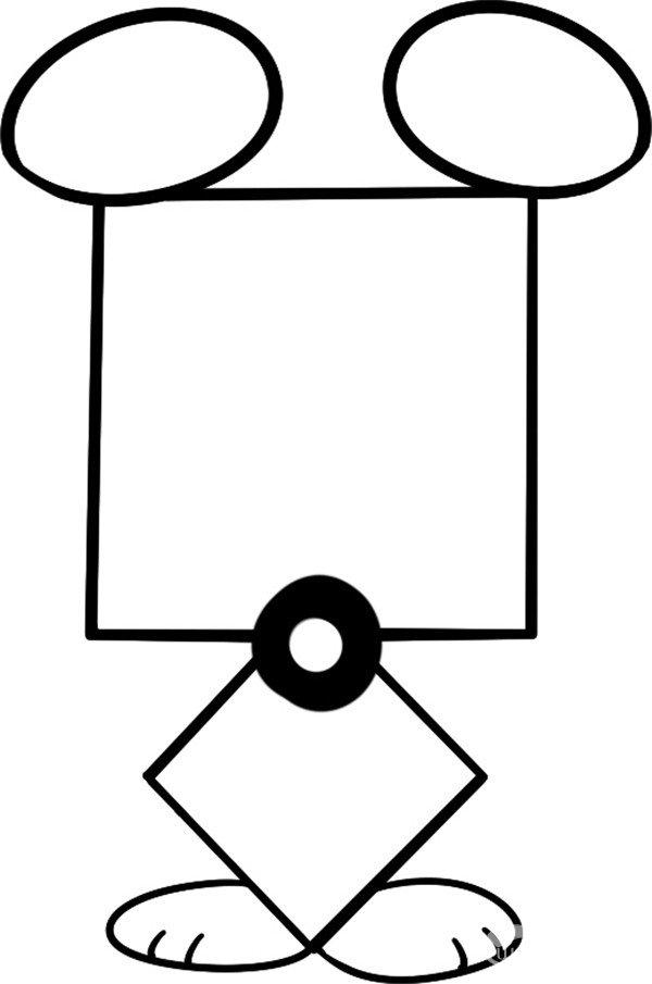 趣味简笔画:奸猾的臭鼬绘画步骤(3)