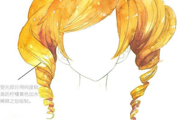 水彩长卷发的表现步骤