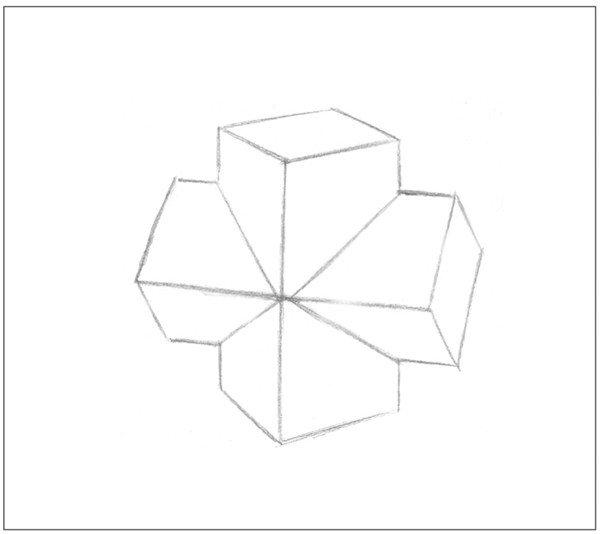 1、多角度观察,使用2B铅笔,画出十字贯穿体的基本形体轮廓。  素描十字贯穿体绘画步骤1 2、画出物体后方的背景线,以较短的两条直线绘画。  素描十字贯穿体绘画步骤2 3、依据光源位置,画出物体的投影。注意投影的大小。  素描十字贯穿体绘画步骤3 4、画出各个面的暗部调子与投影调子,注意排线的方向。  素描十字贯穿体绘画步骤4