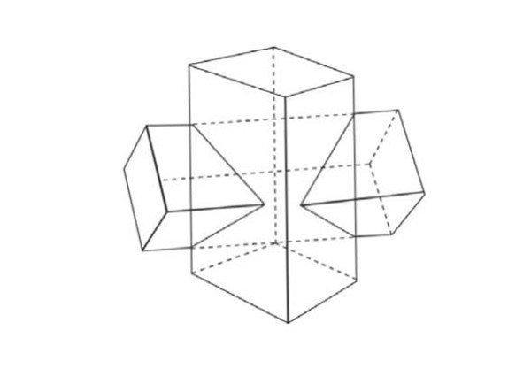 > 素描:十字贯穿体绘画技巧(5)   素描十字贯穿体绘画角度2    长方体