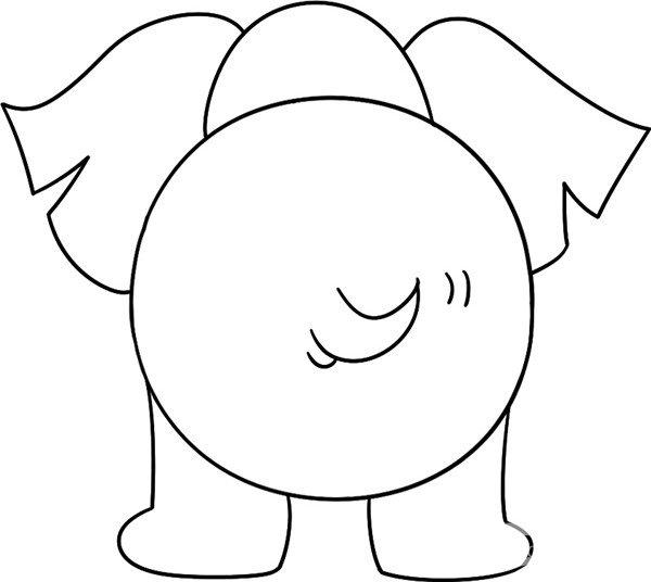趣味简笔画:庞大的大象绘画步骤(4)