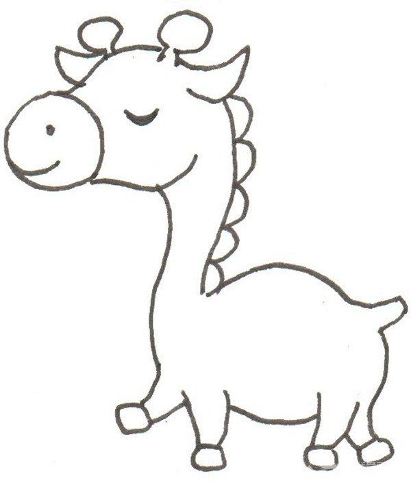 卡通画:长颈鹿的绘画步骤(3)_儿童画教程_学画画_我爱