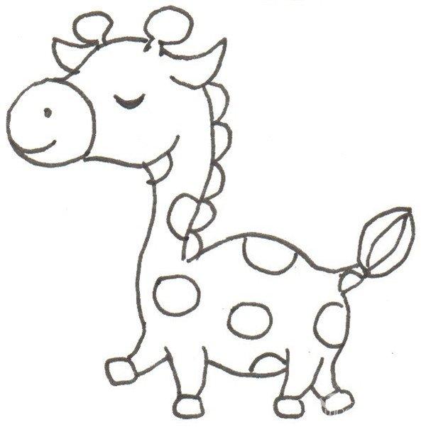 卡通画:长颈鹿的绘画步骤(4)