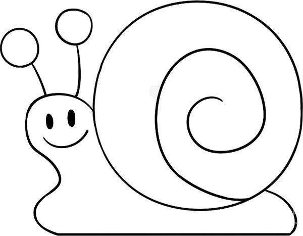 趣味简笔画:缓慢的蜗牛绘画步骤(4)