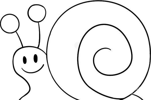 趣味简笔画:缓慢的蜗牛绘画步骤