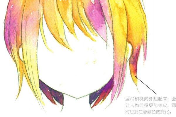 水彩:画出俏丽的短发的基本画法
