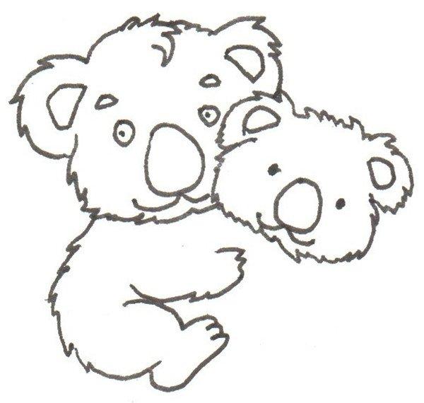 卡通画:考拉爸爸和宝宝的绘画步骤(2)