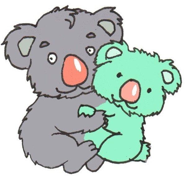 卡通画:考拉爸爸和宝宝的绘画步骤(4)