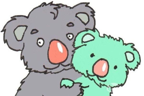 卡通画:考拉爸爸和宝宝的绘画步骤