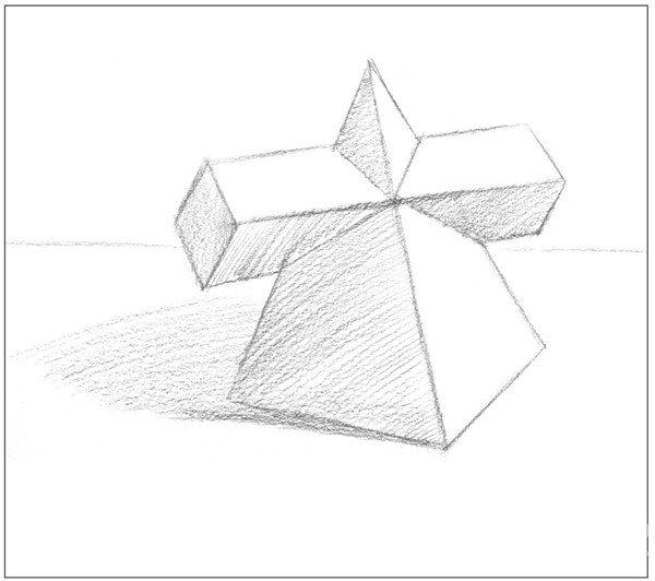 素描棱锥贯穿体绘画步骤4