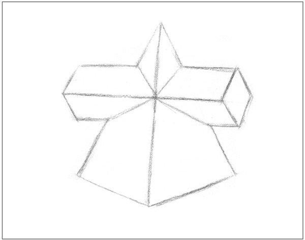 四棱锥十字贯穿体另一角度的绘画。把握好物体的透视关系,要抓准形体。对棱边的刻画要突出石膏的质感,对画面的构图也要合理。  素描棱锥贯穿体 【重点剖析】 1、确定出物体的中轴线,定出画面的高度和宽度,画准形体。  素描棱锥贯穿体绘画要领1 2、画十字贯穿体重要的是对贯穿的结构加以细致的刻画,以突出物体的特征。黑白灰三大块面绘画要清晰。  素描棱锥贯穿体绘画要领2 素描棱锥贯穿体绘画步骤 1、多角度观察,使用2B铅笔,画出物体的基本形体轮廓。注意透视关系。  素描棱锥贯穿体绘画步骤1