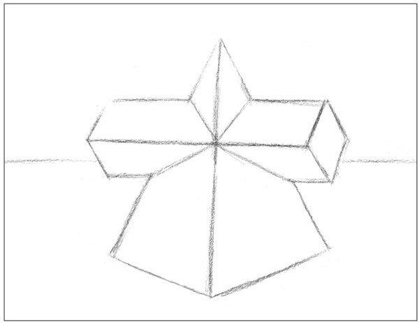 素描棱锥贯穿体绘画步骤2
