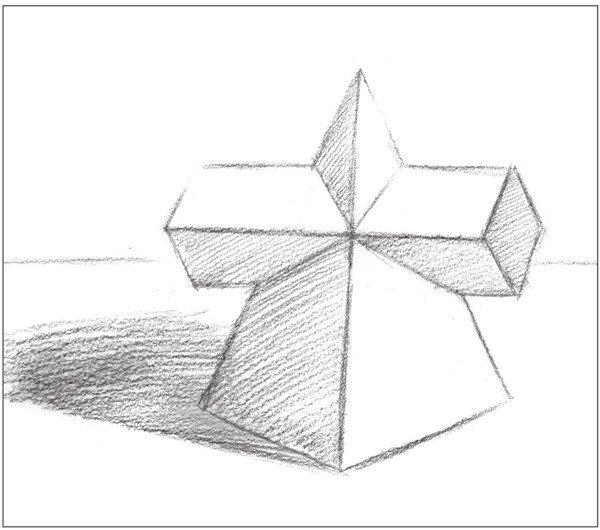 学画画 素描教程 素描石膏像 > 素描:棱锥贯穿体绘画技巧(7)      2