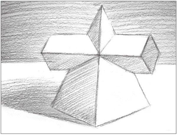 素描棱锥贯穿体绘画步骤5