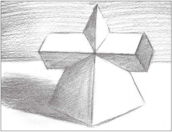 六棱柱四个面结构素描