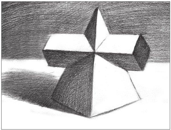 素描棱锥贯穿体绘画步骤11