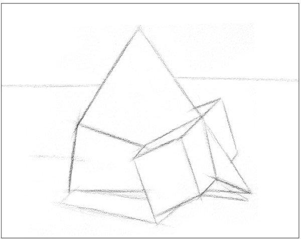 素描棱锥贯穿体绘画步骤1