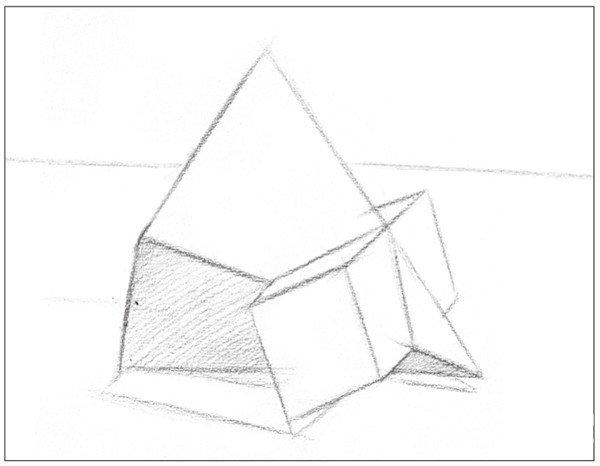 学画画 素描教程 素描石膏像 > 素描:棱锥贯穿体绘画技巧(13)   素描