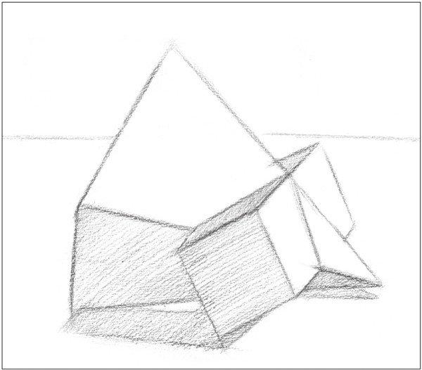 1、多角度观察,使用2B铅笔,画出物体的基本形体轮廓及背景线。注意透视关系。  素描棱锥贯穿体绘画步骤1 2、画出物体暗面的调子,注意排线统一。  素描棱锥贯穿体绘画步骤2 3、依据光源位置,画出物体的投影并上调子。注意投影的大小。  素描棱锥贯穿体绘画步骤3 4、画出物体各个面的暗部调子。注意排线方向的变化。  素描棱锥贯穿体绘画步骤4 5、使用4B铅笔,加深物体暗面的调子。注意排线密度。  素描棱锥贯穿体绘画步骤5 6、加深物体投影的调子。注意排线密度,使画面调均匀。  素描棱锥贯穿体绘画步骤6