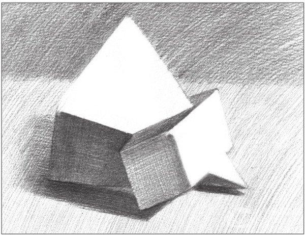 > 素描:棱锥贯穿体绘画技巧(15)      使用4b铅笔,对贯穿体中长方体的