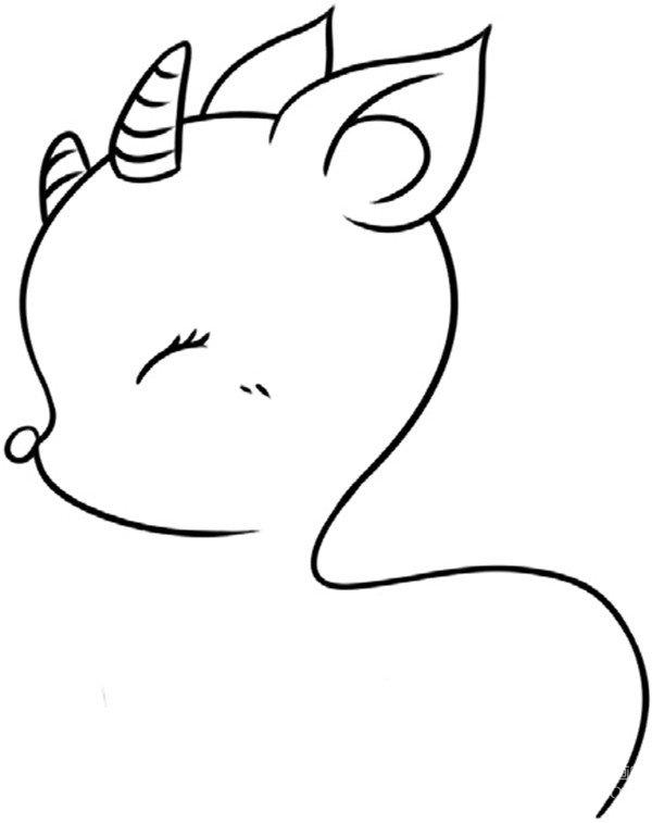趣味简笔画:乖巧的小鹿会画步骤(2)