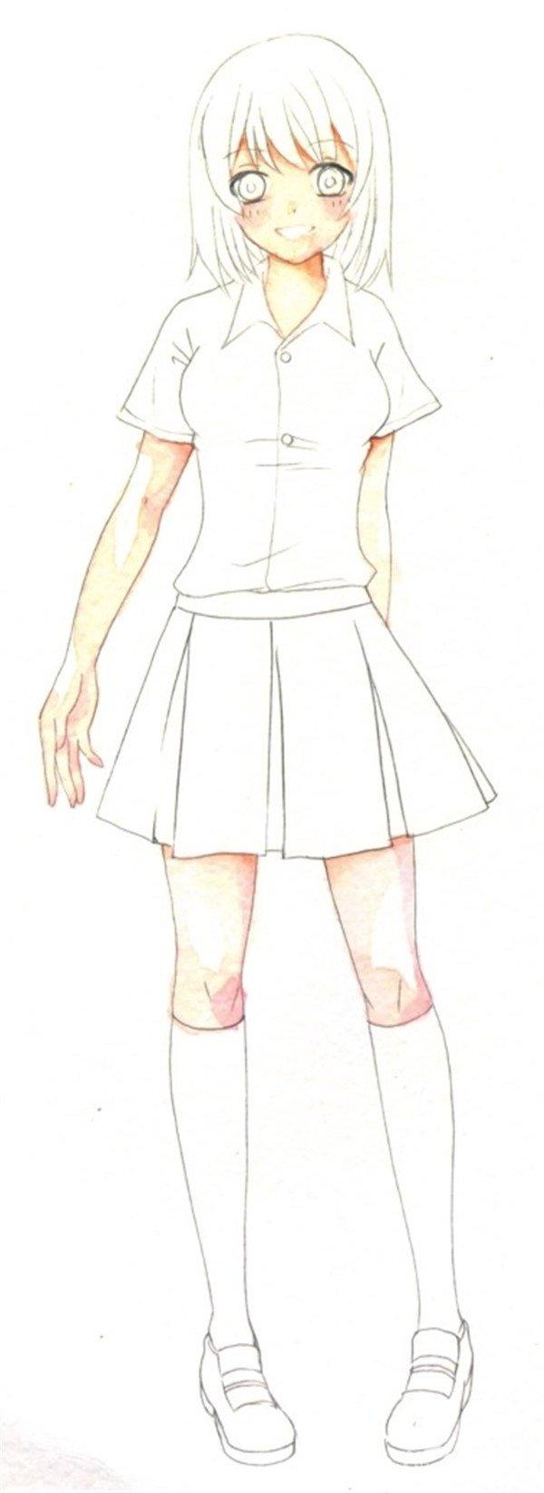 水彩:人物服装的褶皱的画法(2)