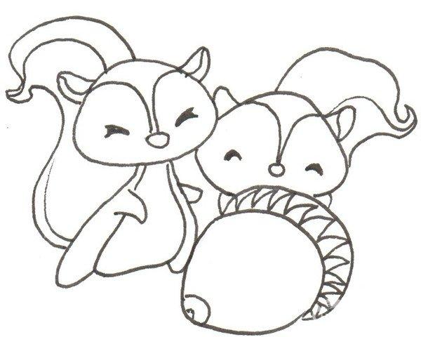 卡通画:三只松鼠的绘画步骤(2)