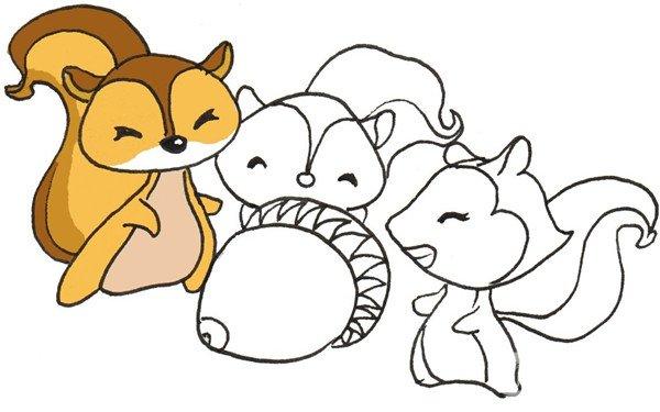 卡通画:三只松鼠的绘画步骤(3)