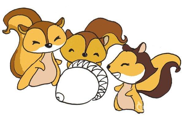 卡通画:三只松鼠的绘画步骤(4)