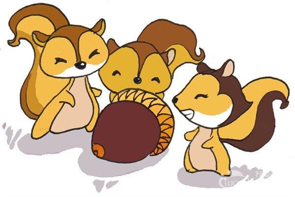 卡通画:三只松鼠的绘画步骤