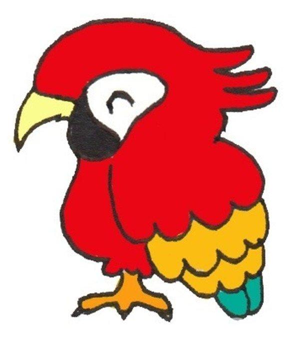 卡通画:鹦鹉的绘画步骤(4)_儿童画教程_学画画_我爱
