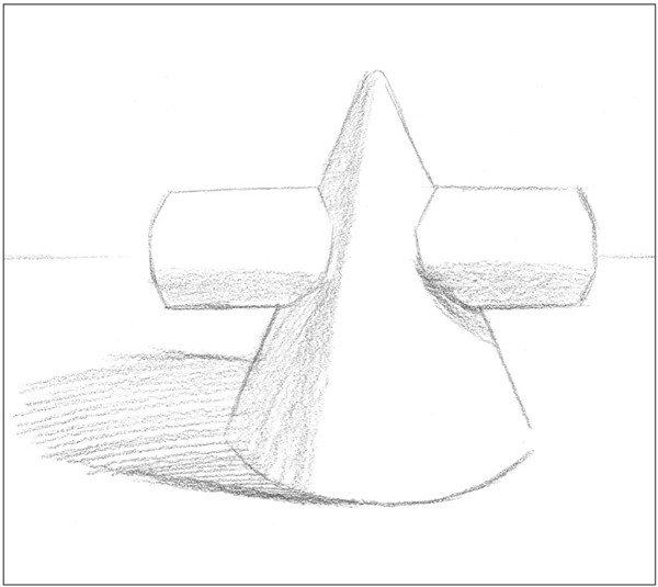 素描圆柱圆锥贯穿体绘画步骤4