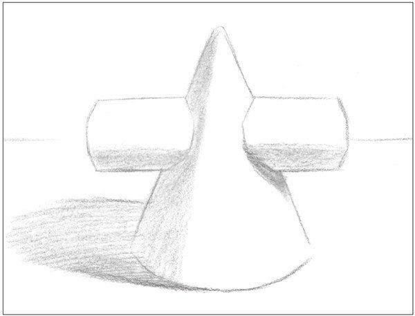 素描:圆柱圆锥贯穿体绘画技巧(3)