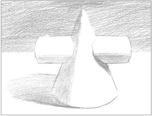 素描圆柱圆锥贯穿体绘画步骤6