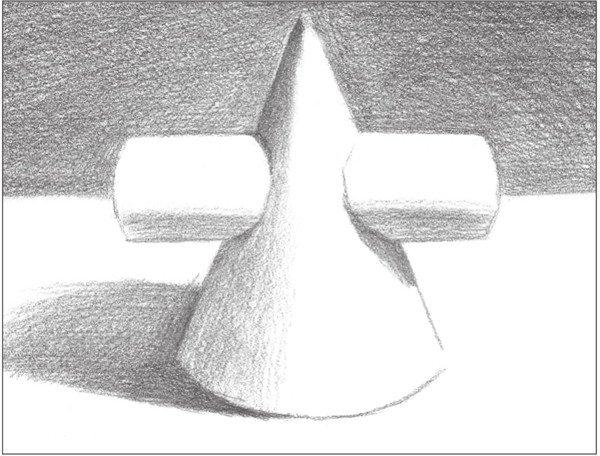 > 素描:圆柱圆锥贯穿体绘画技巧(4)      8,使用6b铅笔,对物体的投影