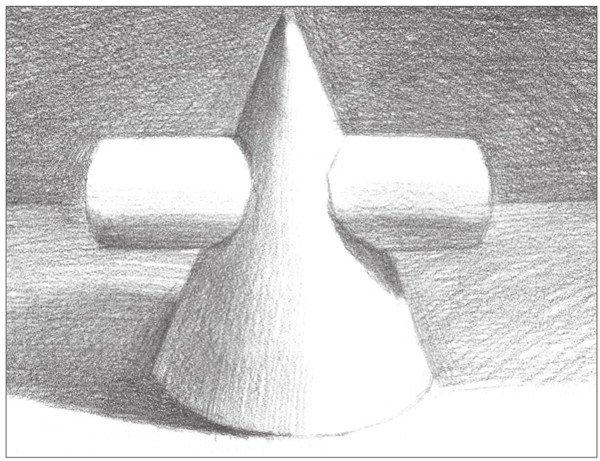 素描:圆柱圆锥贯穿体绘画技巧(5)
