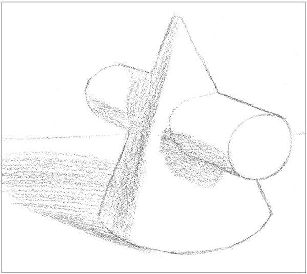素描圆柱圆锥贯穿体绘画步骤 1、使用2B铅笔,确定出物体的宽度与高度,画出物体的基本形体。  素描圆柱圆锥贯穿体绘画步骤1 2、画出物体后方的背景线,以较短的两条直线绘画。  素描圆柱圆锥贯穿体绘画步骤2 3、依据光源位置,画出物体的投影形状。注意投影的大小。  素描圆柱圆锥贯穿体绘画步骤3 4、画出各个面的暗部调子及物体的投影。注意排线方向。  素描圆柱圆锥贯穿体绘画步骤4 5、使用纸笔,对物体暗部的排线进行涂抹,统一整体色调。  素描圆柱圆锥贯穿体绘画步骤5