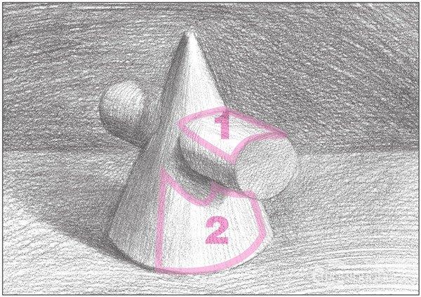 素描圆柱圆锥贯穿体绘画步骤13