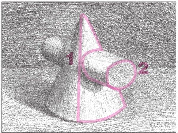 素描圆柱圆锥贯穿体绘画步骤10