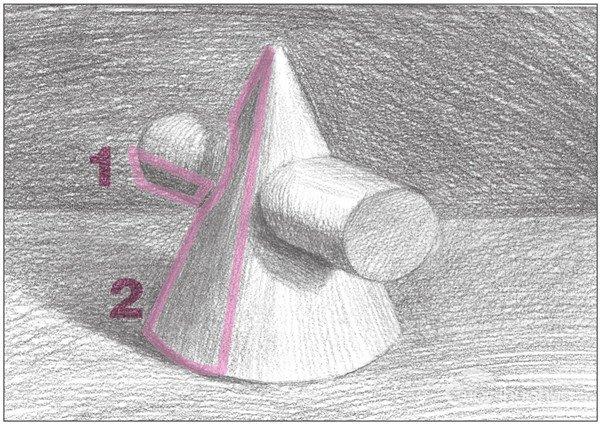 素描圆柱圆锥贯穿体绘画步骤11