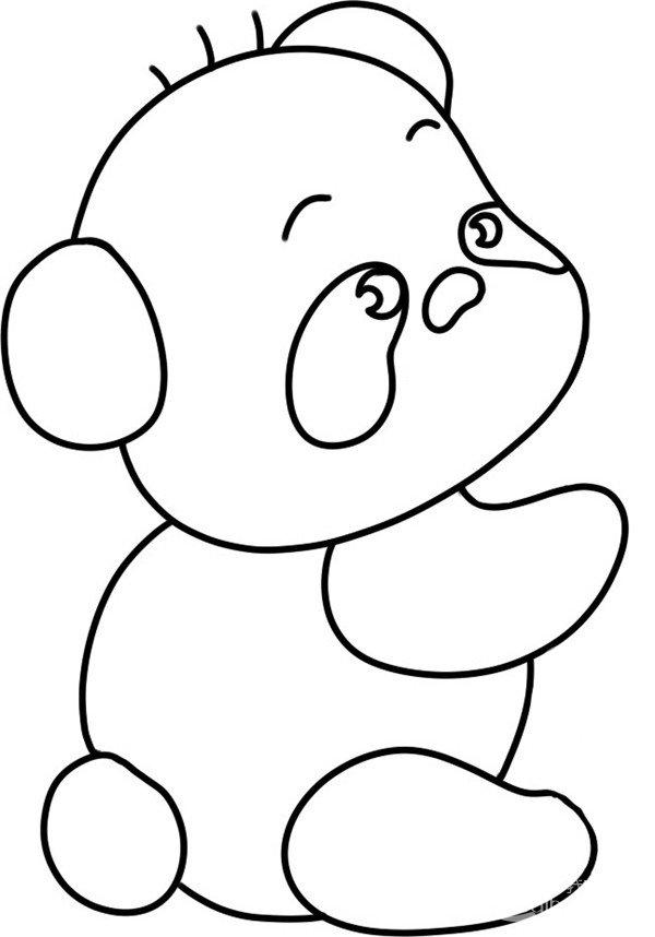 趣味简笔画:吃竹子的熊猫绘画步骤(3)