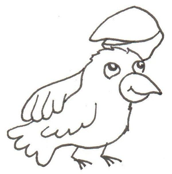 卡通画:黄鹂鸟妈妈和宝宝的绘画步骤(2)